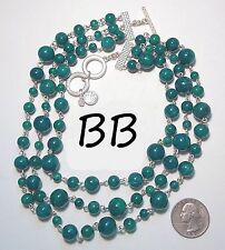 """Marbled Beads & Silvertone Toggle, 17-20"""" Signed Bb Necklace, 3 Strand Teal Blue"""