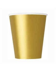 Pappbecher Partybecher Silvester-Deko 8 Stück gold 266 ml - Cod.293961