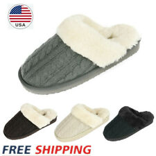Women's Faux Fur Knit Sheepskin Outdoor/Inddor Comfortable Slip On Slippers