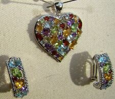 Sterling Silver AFFINITY Diamond COLORED PAVE HEART Pendant & Earring Set 17.9g!