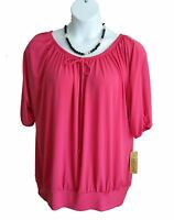 NOTATIONS Blouson Shirt Plus Size 1X 14W 16W NEW Top Knit PINK Scoop NWT