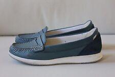 GEOX Damen Schuhe Slipper Größe 37 blau Leder