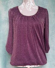 Dorothy Perkins Ladies Top Size UK 12 Glitter Purple Diamante Neckline Puff Arm