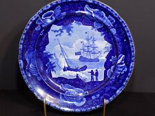 Important Antique 1820-40 ENOCH WOOD SONS Staffordshire CADMUS Seashell Plate