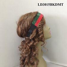 Red & Green Full Rhinestone  Strip  Elastic Stretch Headband Hair Head Band