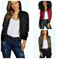 Ladies New Style Bomber Jacket Women Vintage Zip Up Biker Coat Size 8 10 12 14