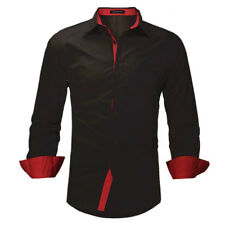 Stylish Men Luxury Slim Fit Casual Shirt Button-down Formal Dress Shirts Tops Black Red S