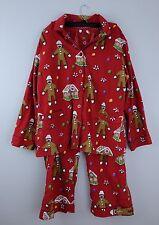 Nick & Nora Flannel Pajamas Gingerbread House Sock Monkeys Red  Christmas, XXL