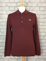 LACOSTE MENS UK S FR 3 BURGANDY LONG SLEEVED PIQUE POLO SHIRT TOP DESIGNER