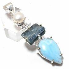 "Caribbean Larimar, Kyanite Rough Silver Fashion Jewelry Pendant 2.2"" SP9101"