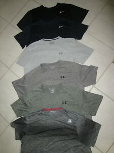 LOT OF 6 MENS XXL 2XL WORK OUT SHIRTS 2 NIKE 3 UNDER ARMOUR 1 REEBOK