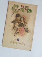 Greeting Postcard Vintage Happy New Year Young Couple