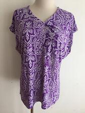 Ralph Lauren CHAPS Cap Sleeve Key-Hole Top Purple & White Paisley/Damask Size XL