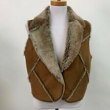 Womens Jacket Vest Faux Fur & Suede Small Medium Brown Sleeveless