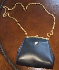Paloma Picasso Black Leather & Goldtone Kisslock Crossbody Bag Purse Evening