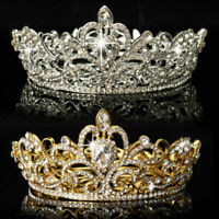 Crystal Rhinestone King Crown Wedding Bridal Diamante Tiara