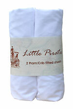 2 x Baby Pram/Crib Fitted Sheet 100% Cotton Luxury Percale White 40x90cm