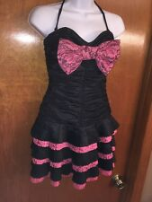 Betsey Johnson Evening Pink Magenta BLACK Tiered Party Dress Bow Sz 4 NEW NWT
