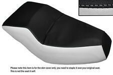 BLACK & WHITE CUSTOM FITS HONDA HELIX CN 250 DUAL LEATHER SEAT COVER