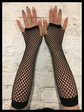 Dedos sueltos red guantes Lang (negro) - gótica fishnet armstulpen