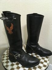 BLACK HARLEY-DAVIDSON MOTORCYCLE BOOTS 7 M