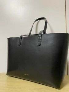 Mansur Gavriel Leather Medium Tote Bag Black With Beige Good Condition