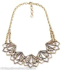 GEOMETRIC CHEVRON TRIANGLE Crystal Rhinestone Gold Choker Bib Statement Necklace