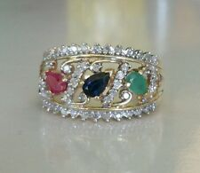Ruby Sapphire Emerald & Diamond Ring Set In 10k Gold Size 7.25