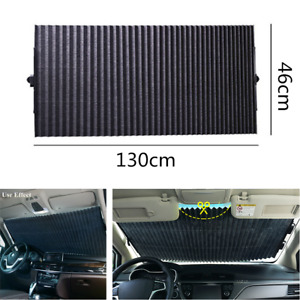 Retractable Black Windshield 130x46cm Sunshade Shade UV Visor Curtain for Car
