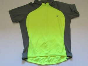 Pearl Izumi Womens Cycling Jersey Short Sleeve Full Zip Size XL Neon Yellow Gray