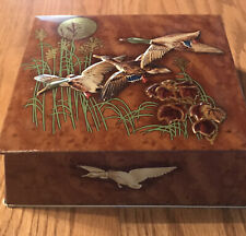vintage Flying Ducks embossed hunting Tin Box w/Hinged Lid made in England