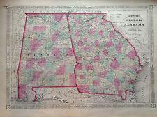 JOHNSON'S  GEORGIA ALABAMA incisione originale 1864 cartina  STATI UNITI  MAP