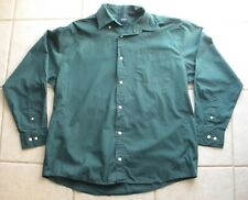 Men's  button down casual top size large  green color Basic Editions