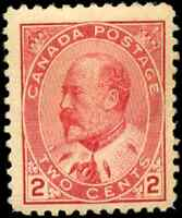 Canada #90 mint F-VF OG slight DG 1903 King Edward VII 2c carmine CV$60.00