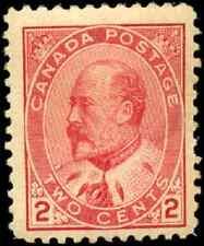 Canada #90 mint F-VF OG slight DG 1903 King Edward VII 2c carmine CV$60.00
