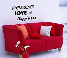 Peace Love Happiness Wall Decal removable sticker decor quote words mural