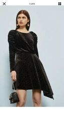 New Topshop Black Velvet Polka Dot Dress Size 10 asymmetric  puff sleeve Vintage