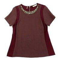 Rebecca Taylor Embellished Neck Ponte Top Size Medium Maroon Short Sleeves