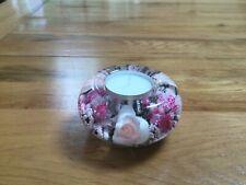 GLASS CANDLE HOLDER FLORAL DESIGN (PINK)