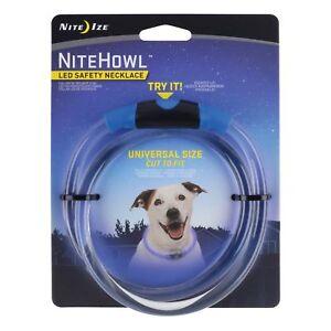 "Nite Ize NiteHowl LED Safety Necklace Blue Dog Collar 12""-27"" Weather Resistant"
