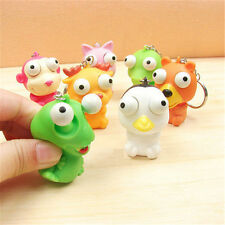 Cute Animal Squeeze Pop Toy Out Eyes Doll Stress Relief Ring Key Ring Keychain