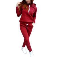 2Pcs Women Hoodies Sports Tops Pants Tracksuit Sweatshirt Sweat Suit Jogging Set