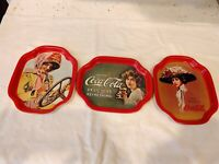 Coca Cola Tin Signs Delicious Refreshing Girl Vintage Advertising Set of Three