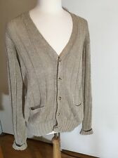 Polo Ralph Lauren Mens Cable Knit Sweater Cardigan Shirt - Size Medium - Tan