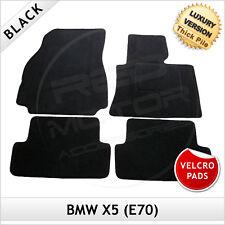 BMW X5 E70 2006-2013 Velcro Pads Tailored LUXURY 1300g Carpet Floor Mats BLACK