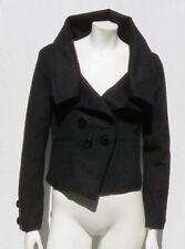BETTER B Women's Black Boucle Big Collar Short Fitted Jacket Coat size S M Mint