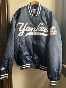 Vintage Majestic New York Yankees MLB Satin Varsity Bomber Jacket Mens LG