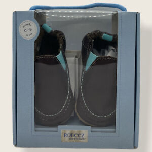 Robeez Soft Soles Brown Blue Boys 0-6 Mo. New
