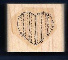 HEART Fabric Quilt Sew Stitch Line Valentine Design Stampin' Up! RUBBER STAMP