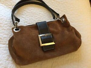 Stylish tan suede handbag/brown leather trim. Silver chrome fittings. Quality